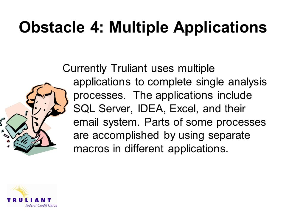 Obstacle 4: Multiple Applications Currently Truliant uses multiple applications to complete single analysis processes.