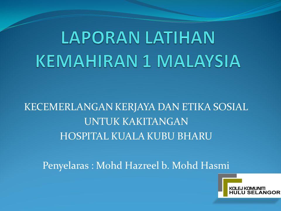 KECEMERLANGAN KERJAYA DAN ETIKA SOSIAL UNTUK KAKITANGAN HOSPITAL KUALA KUBU BHARU Penyelaras : Mohd Hazreel b. Mohd Hasmi