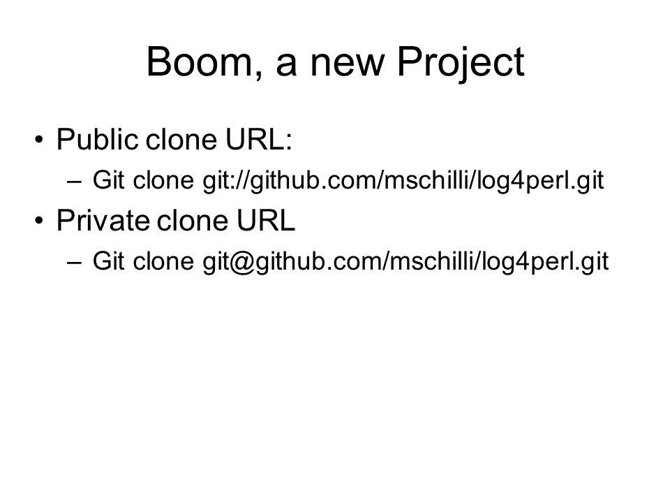 Public clone URL: – Git clone git://github.com/mschilli/log4perl.git Private clone URL – Git clone git@github.com/mschilli/log4perl.git