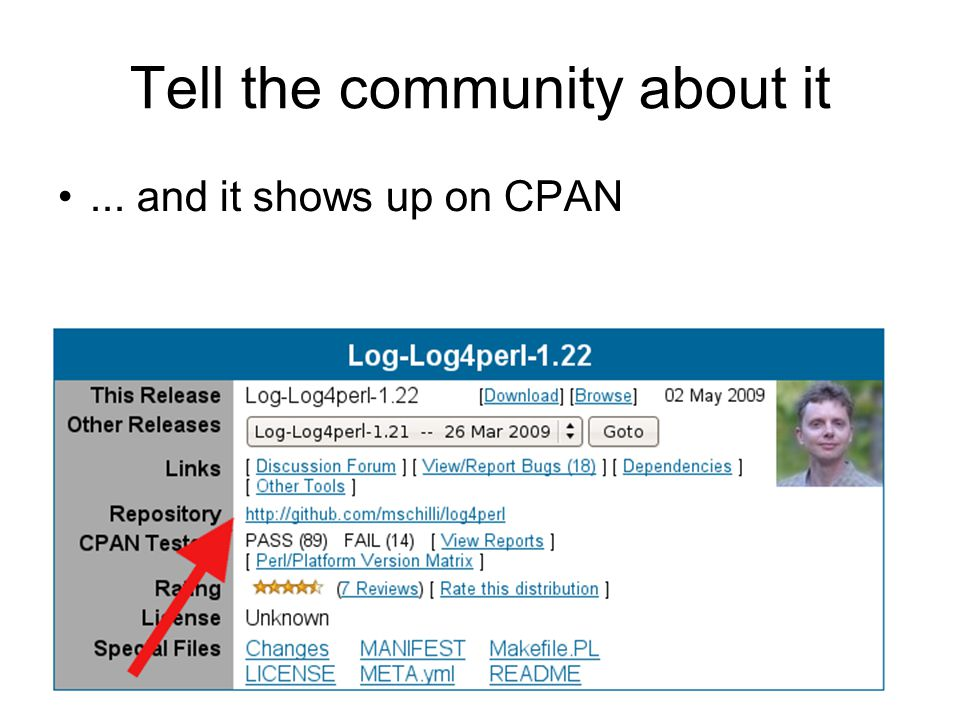 Tell the community about it... and it shows up on CPAN