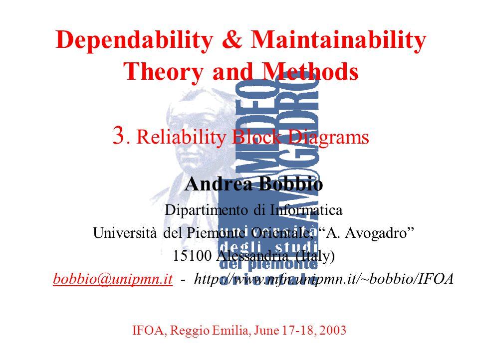 A. BobbioReggio Emilia, June 17-18, 20031 Dependability & Maintainability Theory and Methods 3. Reliability Block Diagrams Andrea Bobbio Dipartimento