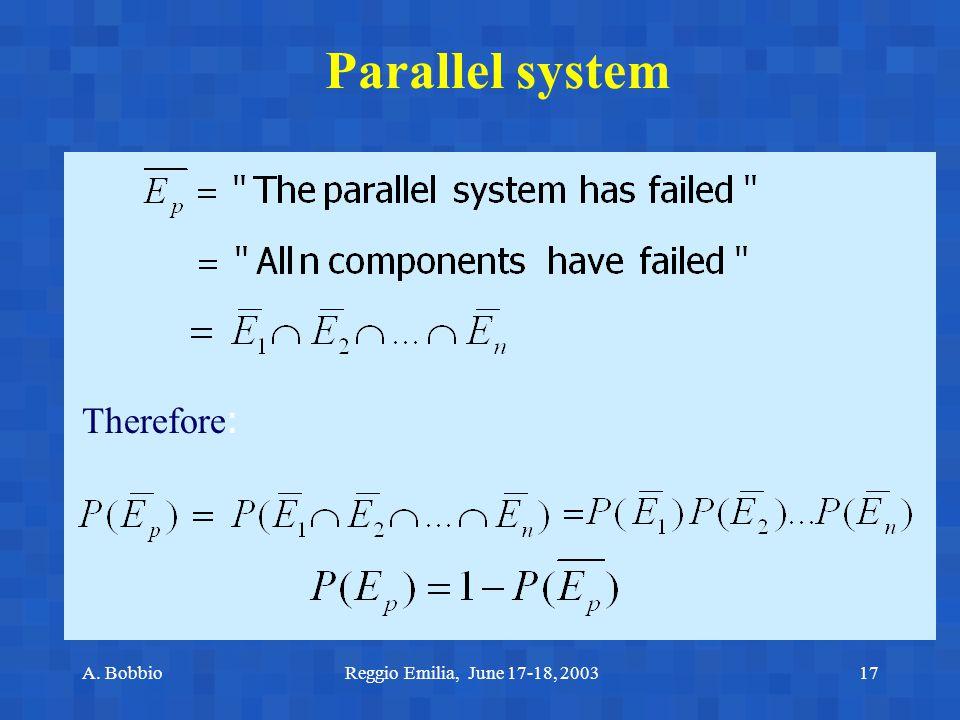 A. BobbioReggio Emilia, June 17-18, 200317 Parallel system Therefore :