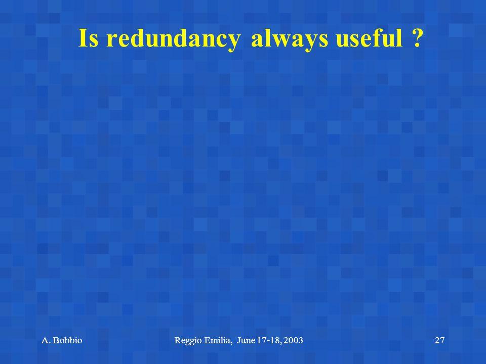 A. BobbioReggio Emilia, June 17-18, 200327 Is redundancy always useful ?
