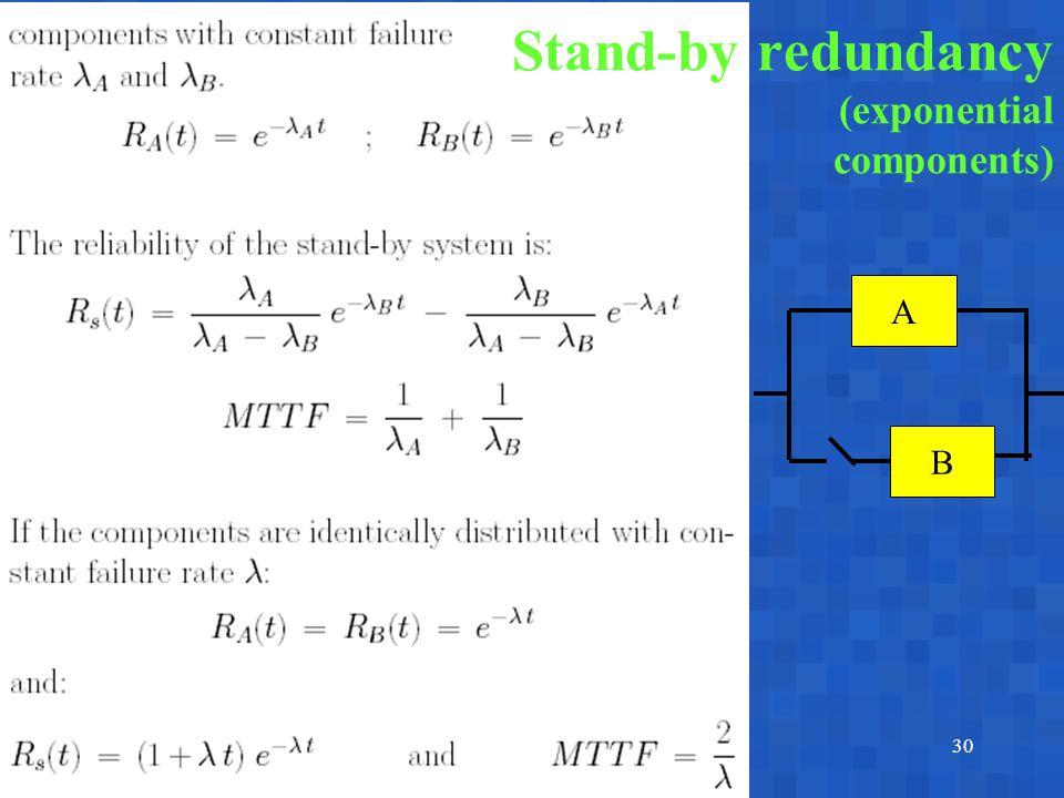 A. BobbioReggio Emilia, June 17-18, 200330 A B Stand-by redundancy (exponential components)