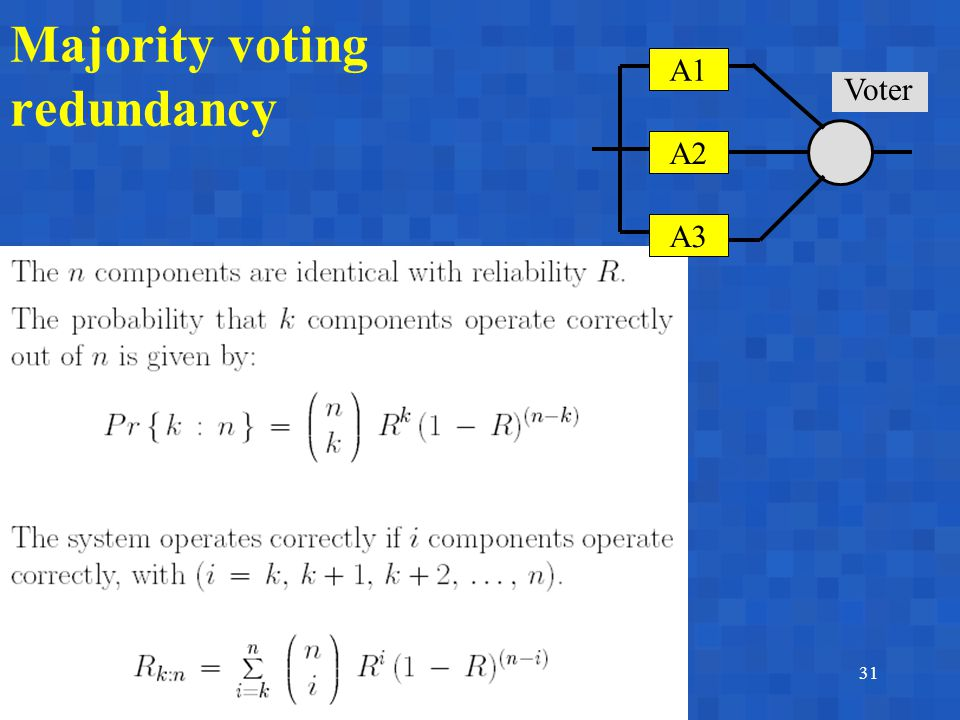 A. BobbioReggio Emilia, June 17-18, 200331 Majority voting redundancy A1A1 A2 A3 Voter