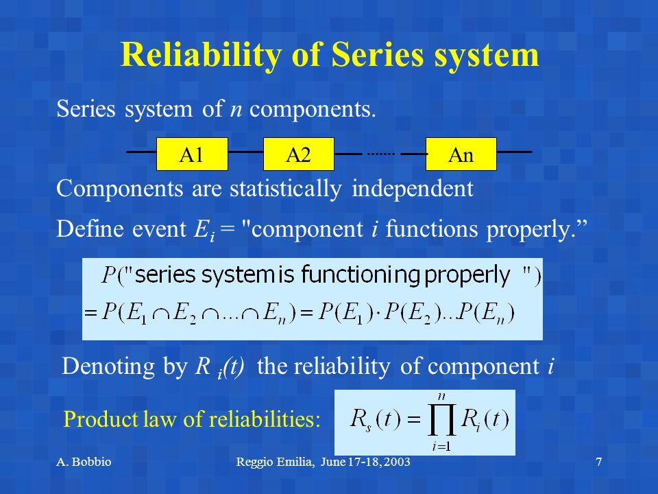A. BobbioReggio Emilia, June 17-18, 20037 Reliability of Series system Series system of n components. Components are statistically independent Define