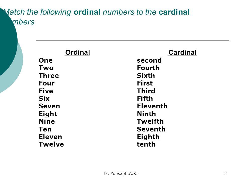 Dr. Yoosaph.A.K.2 Match the following ordinal numbers to the cardinal numbers Ordinal One Two Three Four Five Six Seven Eight Nine Ten Eleven Twelve C