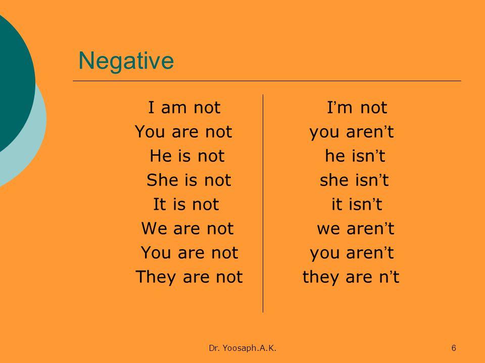 Dr. Yoosaph.A.K.6 Negative I am not I ' m not You are not you aren ' t He is not he isn ' t She is not she isn ' t It is not it isn ' t We are not we
