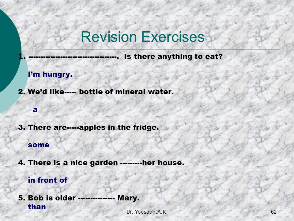 Dr.Yoosaph.A.K.62 Revision Exercises 1. ------------------------------------.