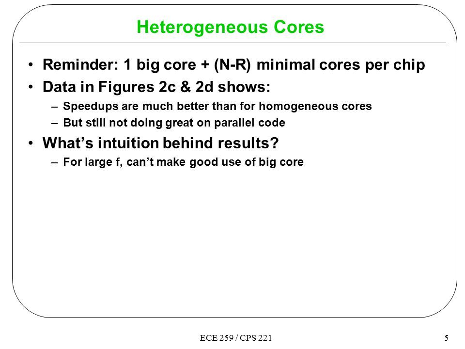 5ECE 259 / CPS 221 Heterogeneous Cores Reminder: 1 big core + (N-R) minimal cores per chip Data in Figures 2c & 2d shows: –Speedups are much better than for homogeneous cores –But still not doing great on parallel code What's intuition behind results.