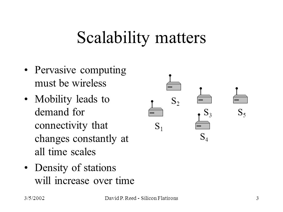 3/5/2002David P. Reed - Silicon Flatirons3 Scalability matters Pervasive computing must be wireless Mobility leads to demand for connectivity that cha