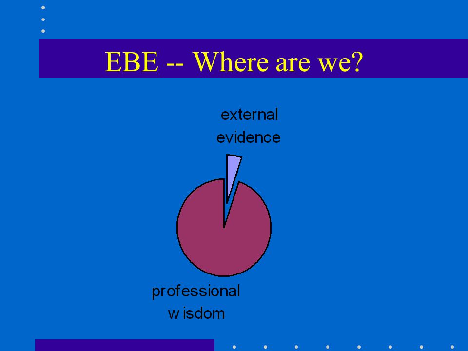 EBE -- Where are we?