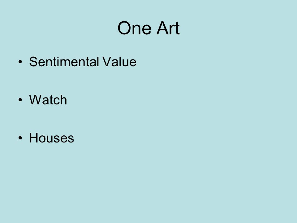 One Art Sentimental Value Watch Houses