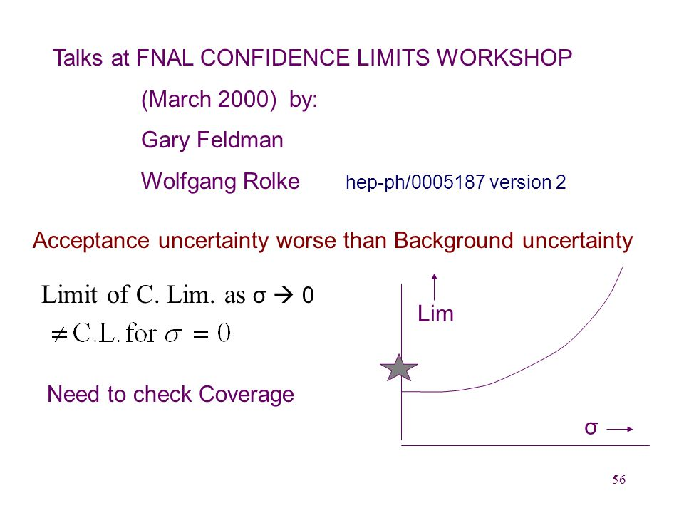 56 Talks at FNAL CONFIDENCE LIMITS WORKSHOP (March 2000) by: Gary Feldman Wolfgang Rolke hep-ph/0005187 version 2 Acceptance uncertainty worse than Background uncertainty Limit of C.