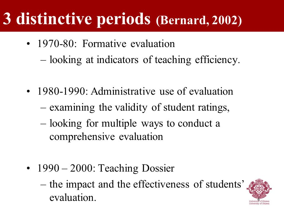 4 1970-80: Formative evaluation –looking at indicators of teaching efficiency.