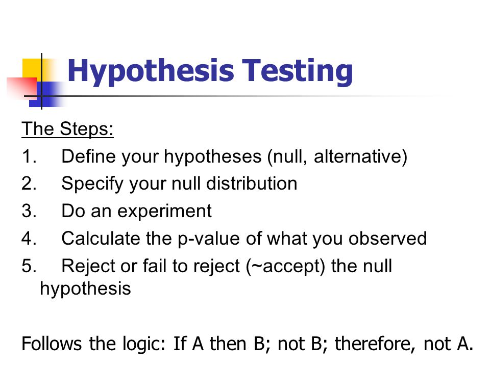 Hypothesis Testing The Steps: 1. Define your hypotheses (null, alternative) 2.