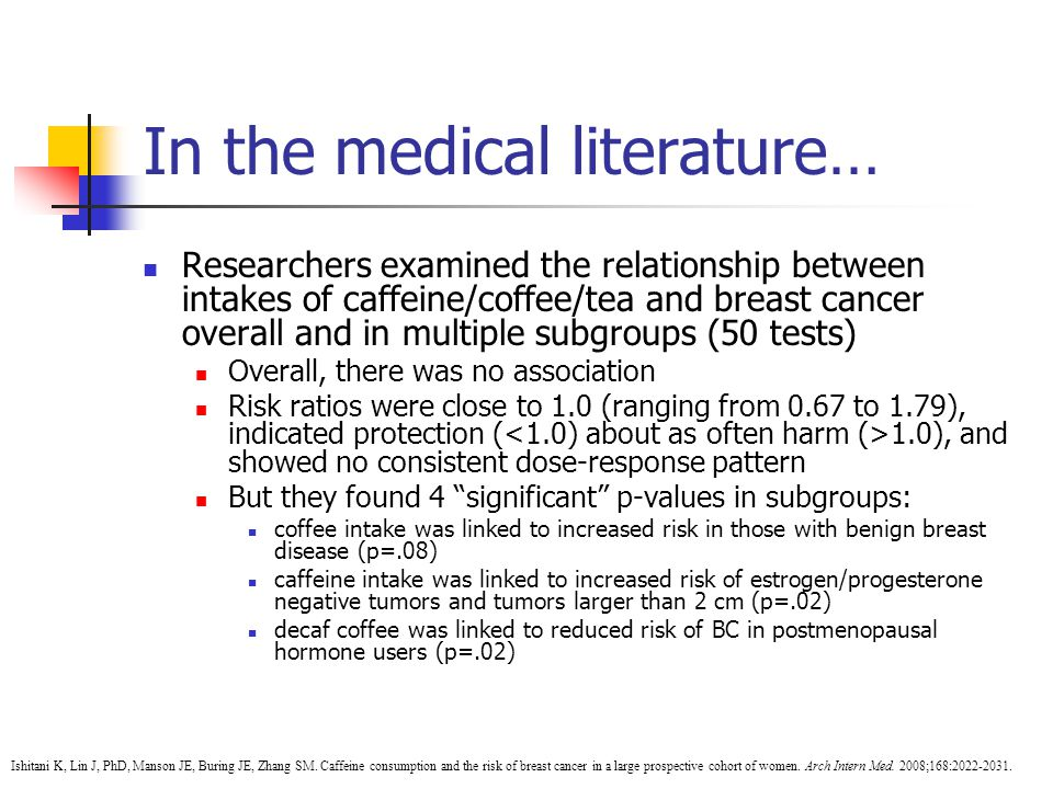 In the medical literature… Researchers examined the relationship between intakes of caffeine/coffee/tea and breast cancer overall and in multiple subgroups (50 tests) Overall, there was no association Risk ratios were close to 1.0 (ranging from 0.67 to 1.79), indicated protection ( 1.0), and showed no consistent dose-response pattern But they found 4 significant p-values in subgroups: coffee intake was linked to increased risk in those with benign breast disease (p=.08) caffeine intake was linked to increased risk of estrogen/progesterone negative tumors and tumors larger than 2 cm (p=.02) decaf coffee was linked to reduced risk of BC in postmenopausal hormone users (p=.02) Ishitani K, Lin J, PhD, Manson JE, Buring JE, Zhang SM.