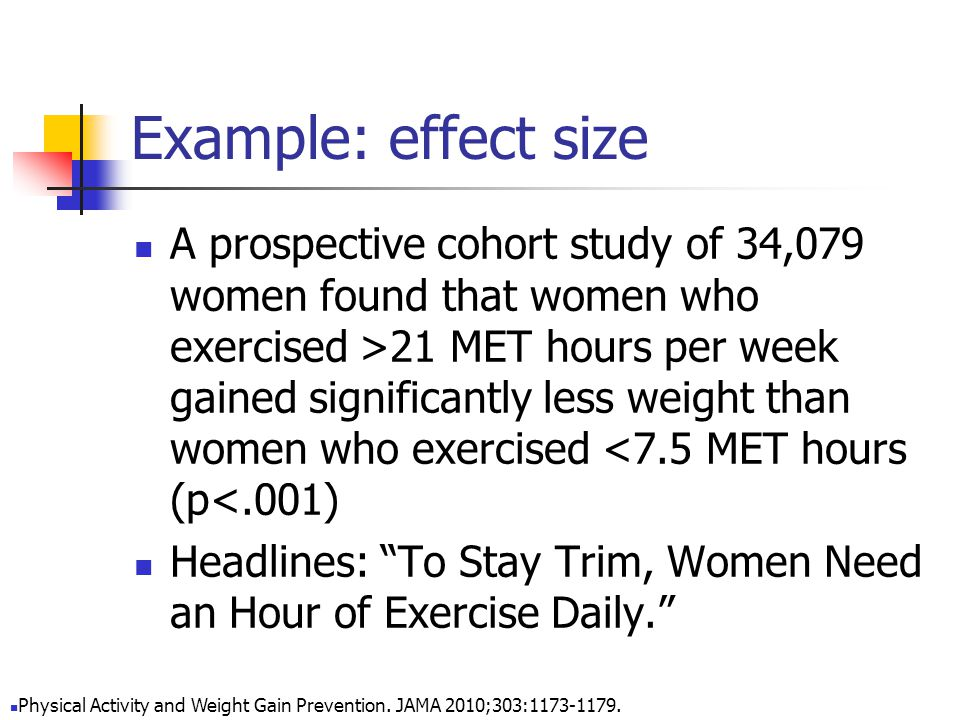 Example: effect size A prospective cohort study of 34,079 women found that women who exercised >21 MET hours per week gained significantly less weight than women who exercised <7.5 MET hours (p<.001) Headlines: To Stay Trim, Women Need an Hour of Exercise Daily. Physical Activity and Weight Gain Prevention.