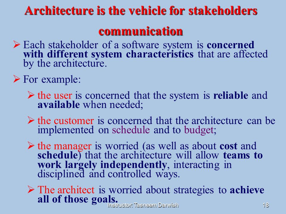Instructor: Tasneem Darwish18 Architecture is the vehicle for stakeholders communication  Each stakeholder of a software system is concerned with dif