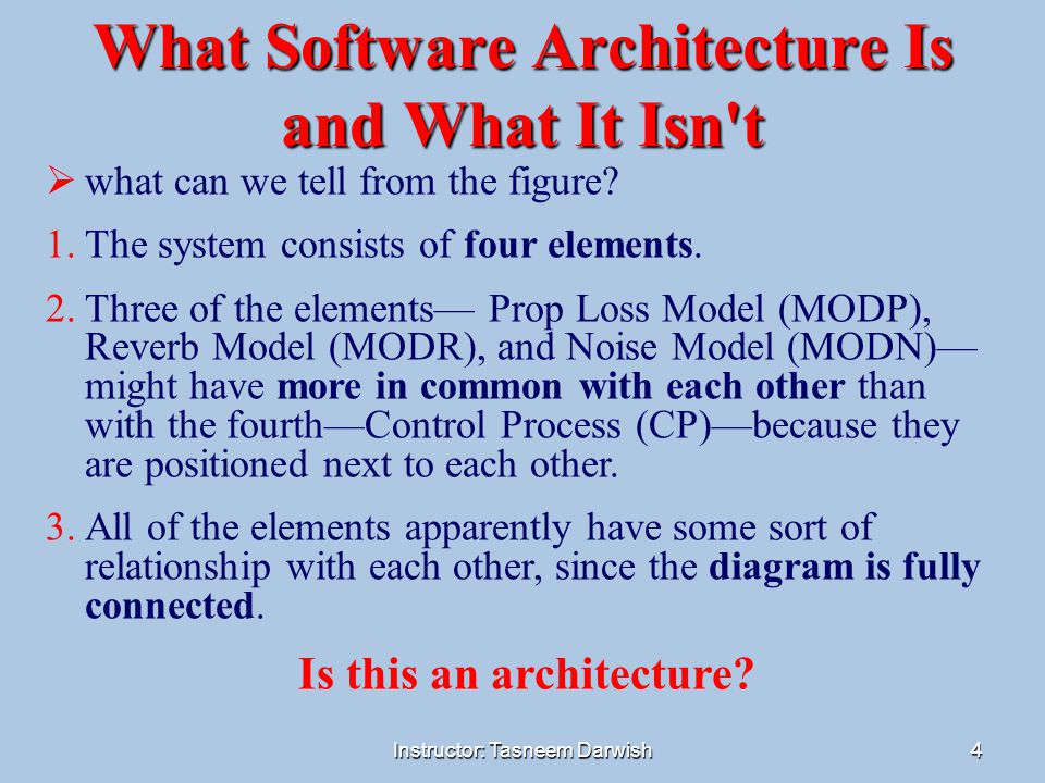 Instructor: Tasneem Darwish4 What Software Architecture Is and What It Isn't  what can we tell from the figure? 1.The system consists of four element