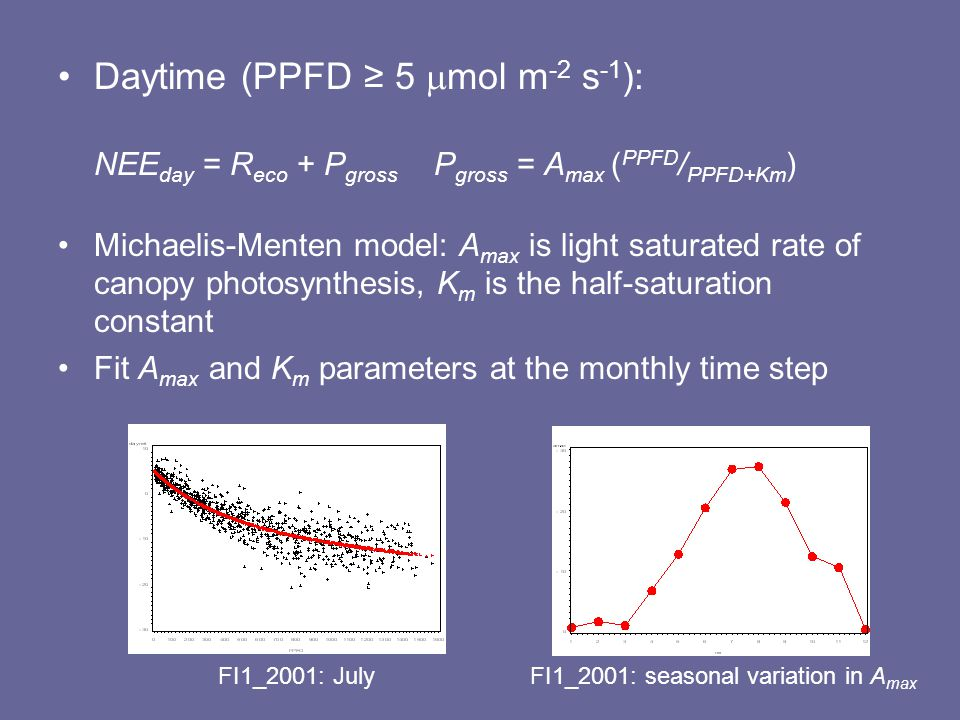 Daytime (PPFD ≥ 5  mol m -2 s -1 ): NEE day = R eco + P gross P gross = A max ( PPFD / PPFD+Km ) Michaelis-Menten model: A max is light saturated rate of canopy photosynthesis, K m is the half-saturation constant Fit A max and K m parameters at the monthly time step FI1_2001: JulyFI1_2001: seasonal variation in A max