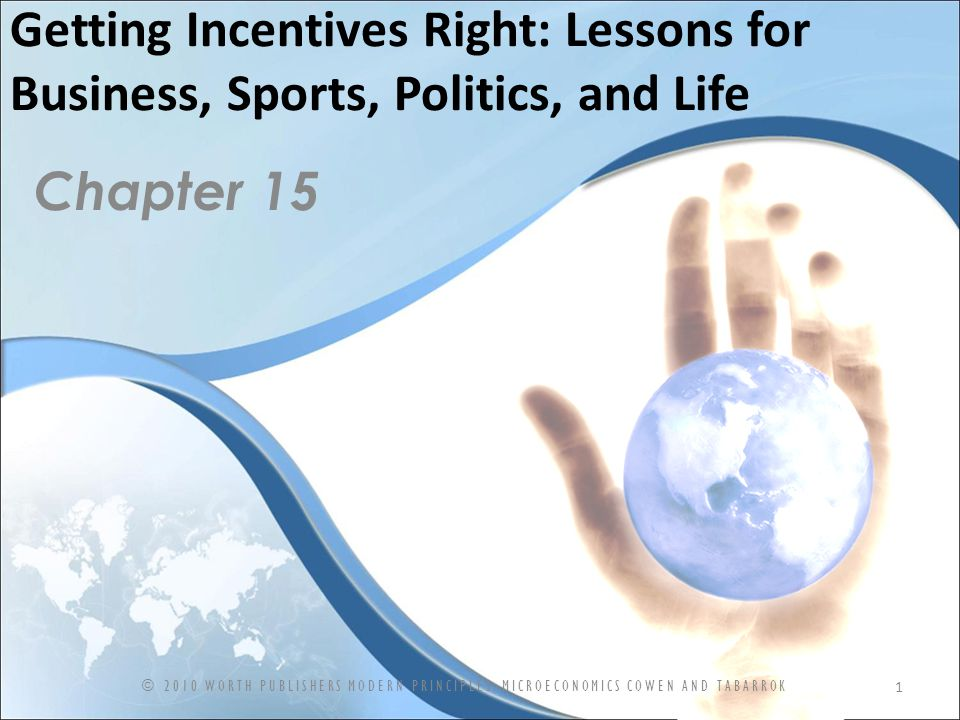 Getting Incentives Right: Lessons for Business, Sports, Politics, and Life Chapter 15 1 © 2010 WORTH PUBLISHERS MODERN PRINCIPLES: MICROECONOMICS COWEN AND TABARROK
