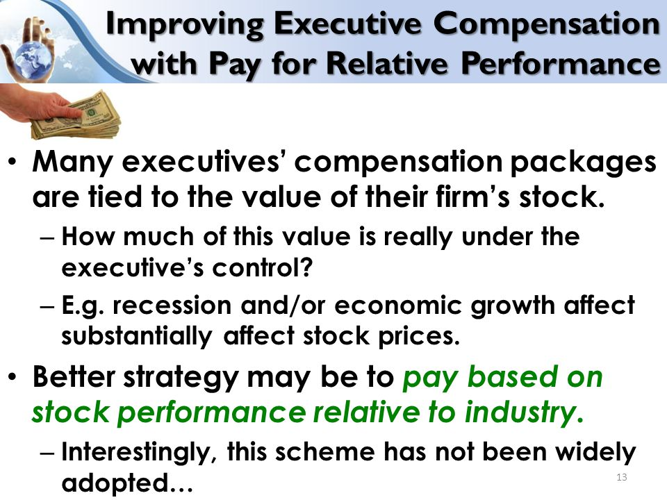 Improving Executive Compensation with Pay for Relative Performance Many executives' compensation packages are tied to the value of their firm's stock.