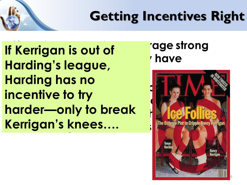 Getting Incentives Right Since tournaments encourage strong competition, agents rarely have incentives to cooperate.