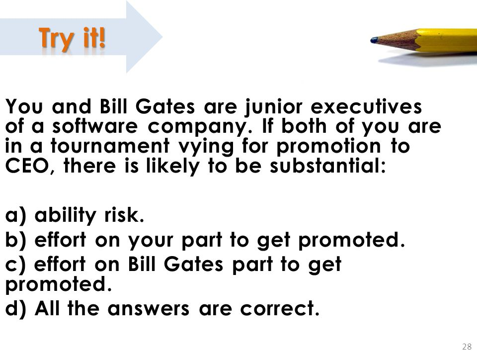 28 You and Bill Gates are junior executives of a software company.