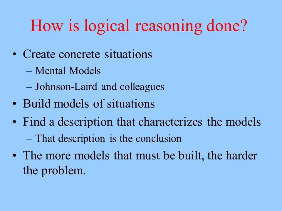 How is logical reasoning done? Create concrete situations –Mental Models –Johnson-Laird and colleagues Build models of situations Find a description t