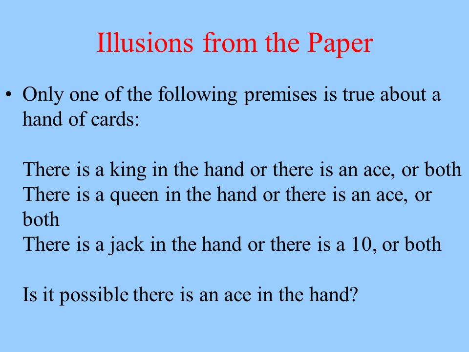Illusions from the Paper Only one of the following premises is true about a hand of cards: There is a king in the hand or there is an ace, or both The