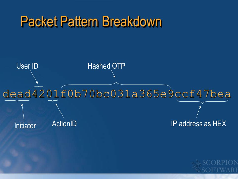 Packet Pattern Breakdown dead4201f0b70bc031a365e9ccf47bea Initiator ActionID Hashed OTP IP address as HEX User ID