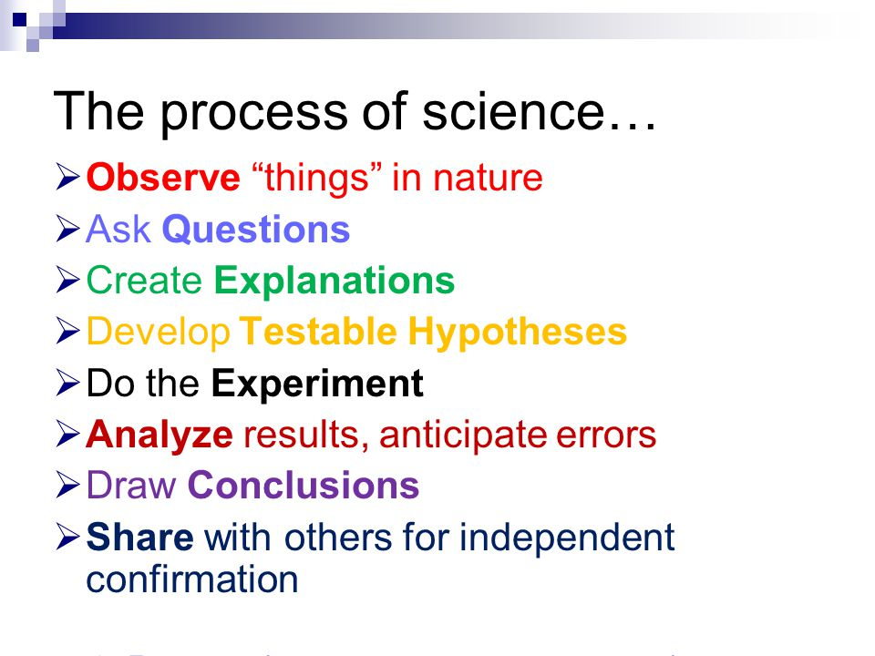 "The process of science…  Observe ""things"" in nature  Ask Questions  Create Explanations  Develop Testable Hypotheses  Do the Experiment  Analyze"