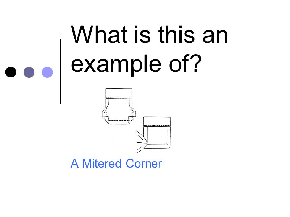 What is this an example of? A Mitered Corner