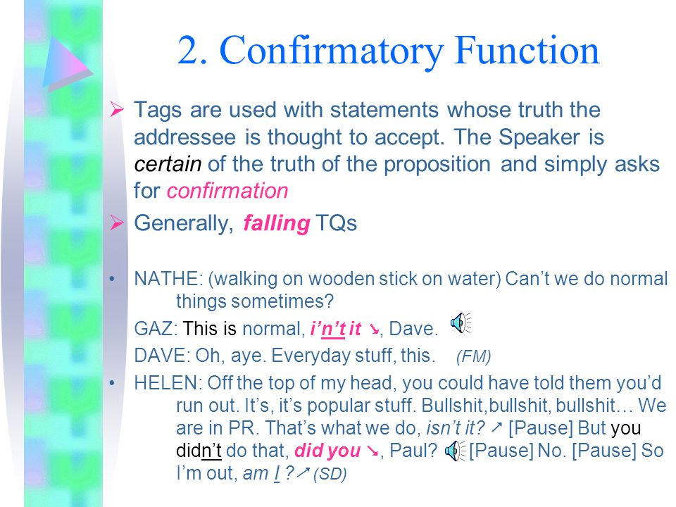 1. Informational Function  When the speaker entertains some doubts about the certainty or truth of the proposition in the main sentence  verificatio