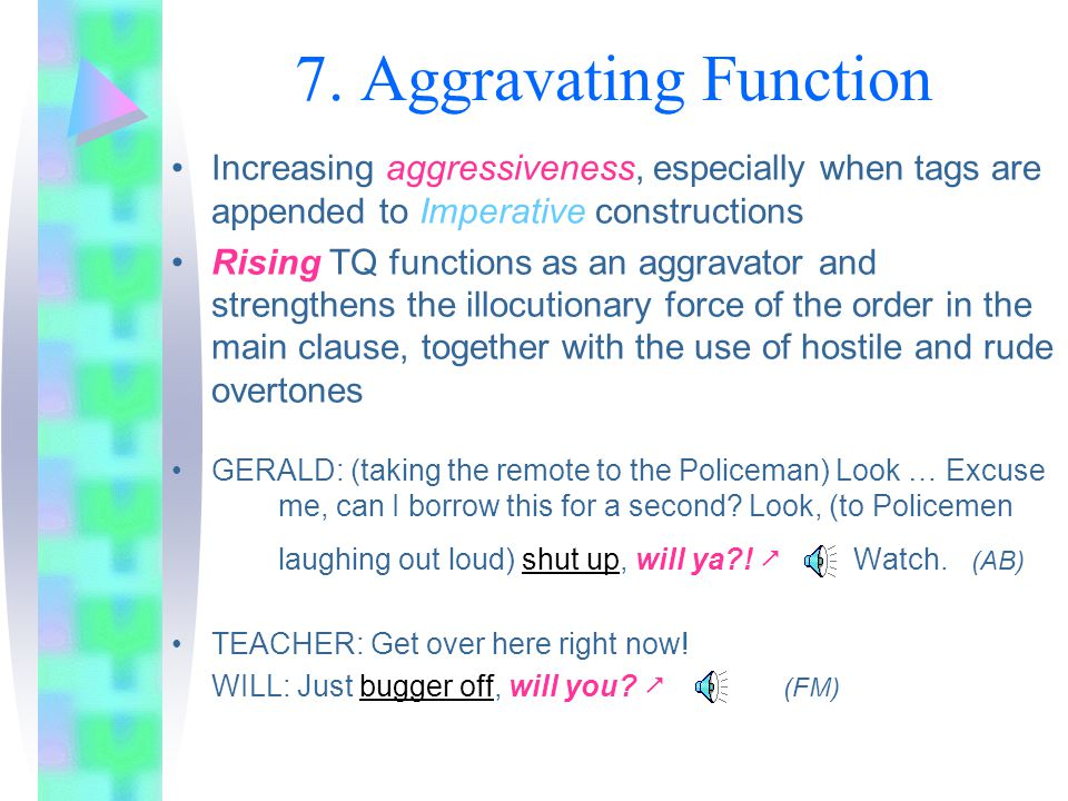 6. Antagonistic Function TQ follows a statement whose truth the addressee could not possibly know, since the content of the proposition represents new