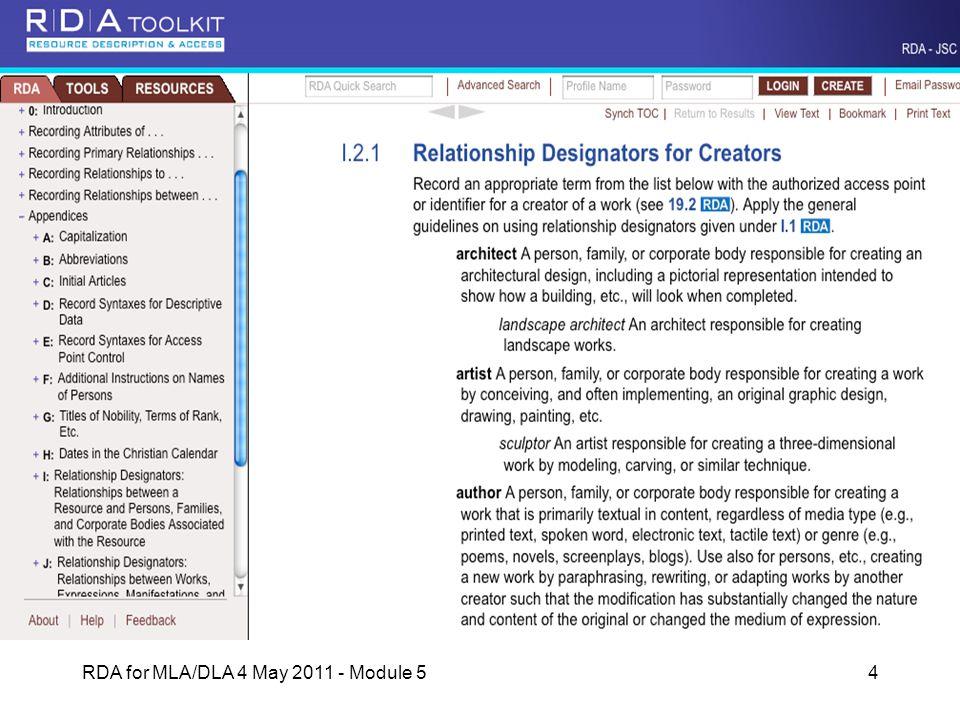 RDA for MLA/DLA 4 May 2011 - Module 54