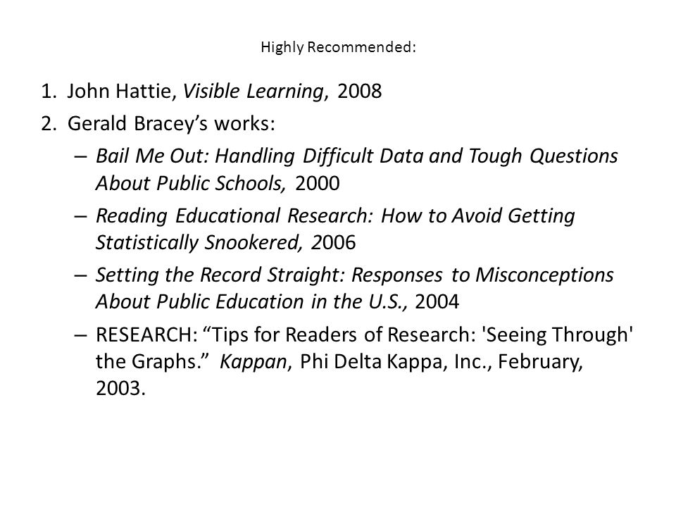 Highly Recommended: 1.John Hattie, Visible Learning, 2008 2.