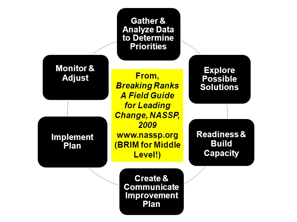 Gather & Analyze Data to Determine Priorities Explore Possible Solutions Assess Readiness & Build Capacity Create & Communicate Improvement Plan Implement Plan Monitor & Adjust From, Breaking Ranks A Field Guide for Leading Change, NASSP, 2009 www.nassp.org (BRIM for Middle Level!)