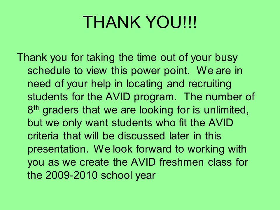 AVID? What is that?