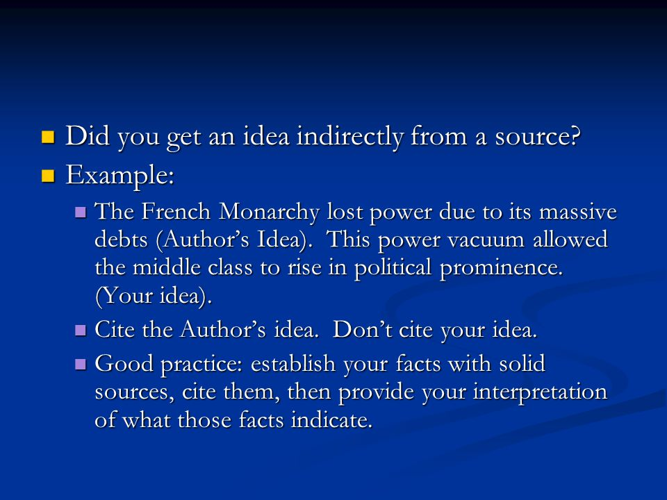Did you get an idea indirectly from a source. Did you get an idea indirectly from a source.