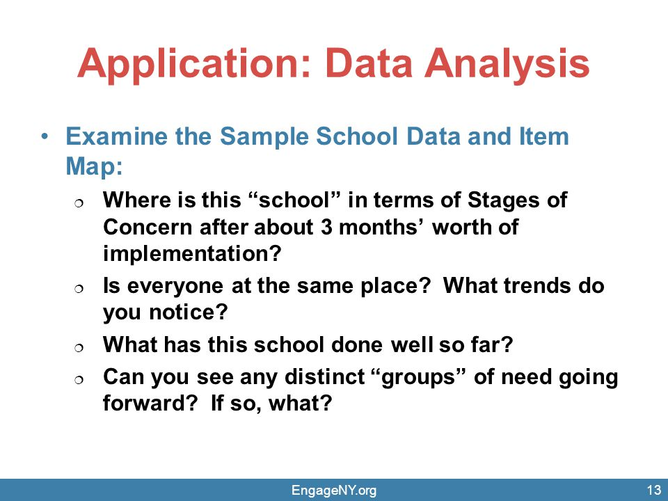 Application: Data Analysis Examine the Sample School Data and Item Map:  Where is this school in terms of Stages of Concern after about 3 months' worth of implementation.