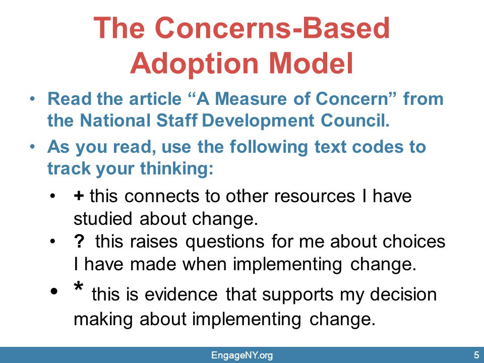"""The Concerns-Based Adoption Model Read the article """"A Measure of Concern"""" from the National Staff Development Council. As you read, use the following"""