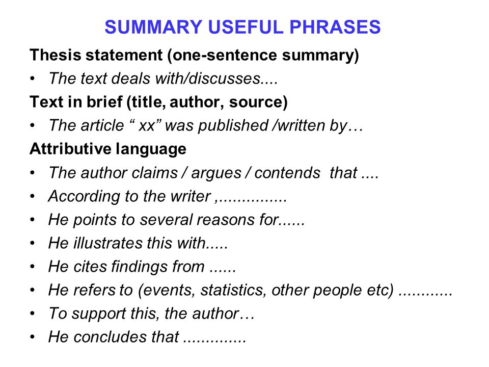"""SUMMARY USEFUL PHRASES Thesis statement (one-sentence summary) The text deals with/discusses.... Text in brief (title, author, source) The article """" x"""