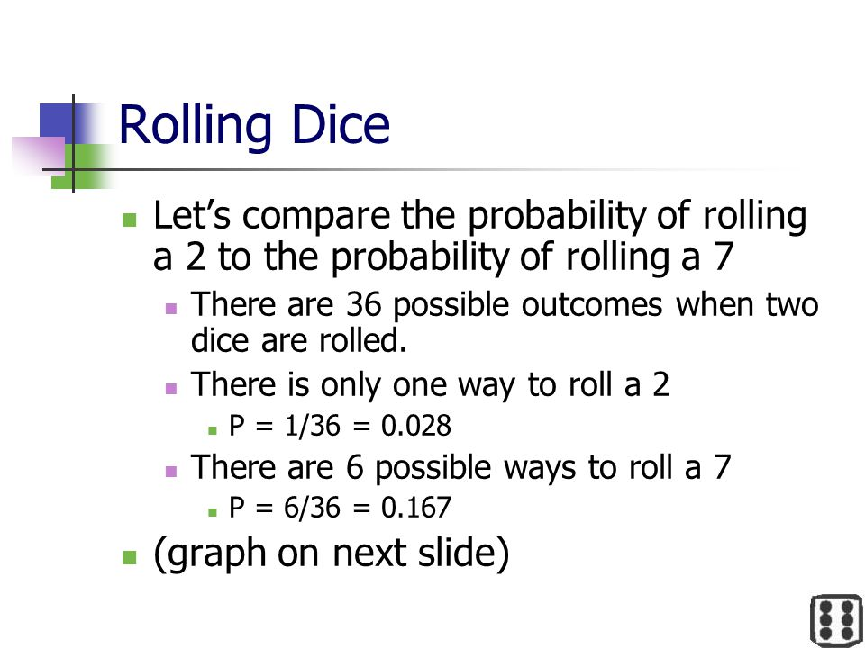 Rolling Dice Let's compare the probability of rolling a 2 to the probability of rolling a 7 There are 36 possible outcomes when two dice are rolled. T