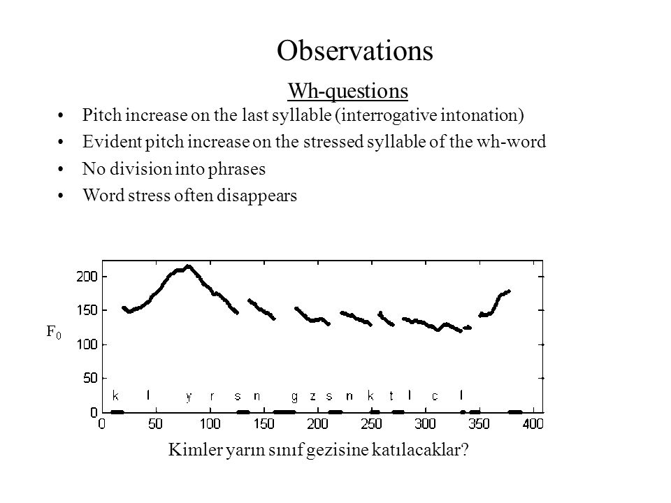 Observations Pitch increase on the last syllable (interrogative intonation) Evident pitch increase on the stressed syllable of the wh-word No division