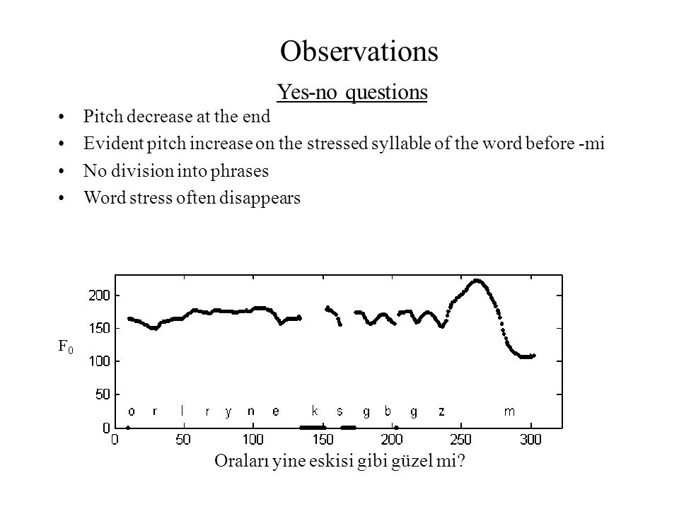 Observations Pitch decrease at the end Evident pitch increase on the stressed syllable of the word before -mi No division into phrases Word stress oft