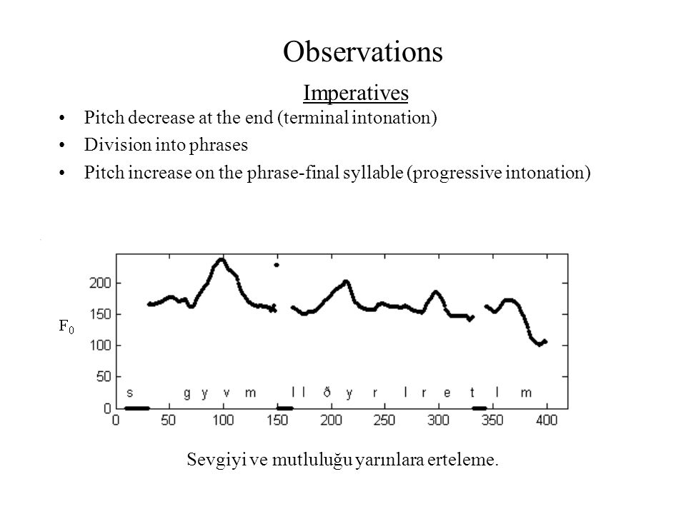 Observations Pitch decrease at the end (terminal intonation) Division into phrases Pitch increase on the phrase-final syllable (progressive intonation
