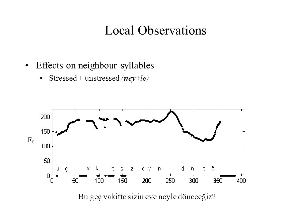Local Observations Effects on neighbour syllables Stressed + unstressed (ney+le) Bu geç vakitte sizin eve neyle döneceğiz?