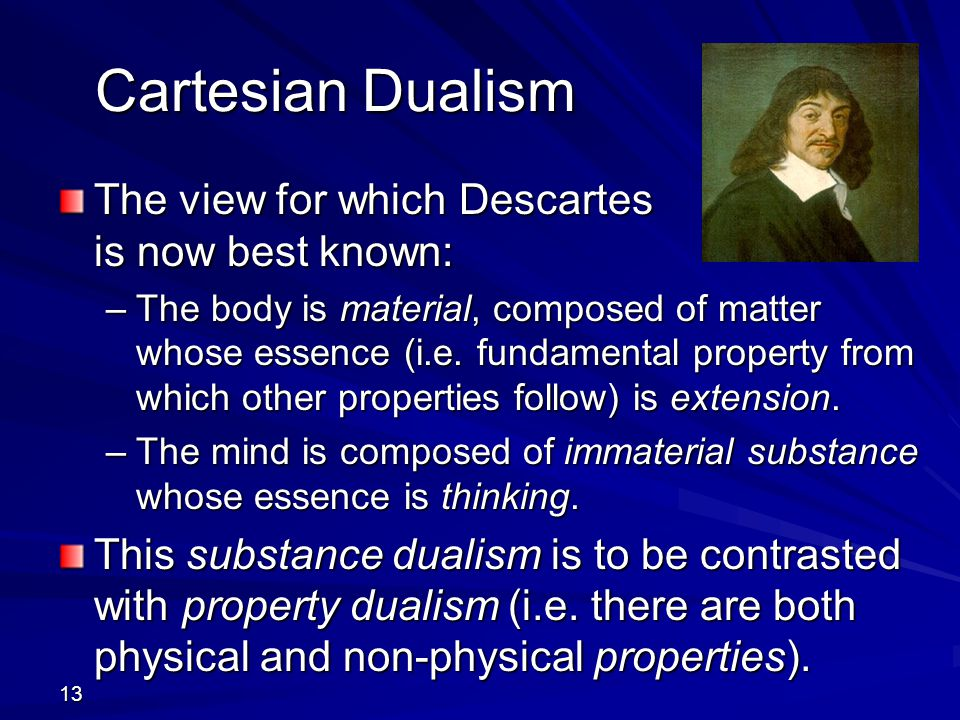 13 Cartesian Dualism The view for which Descartes is now best known: –The body is material, composed of matter whose essence (i.e. fundamental propert